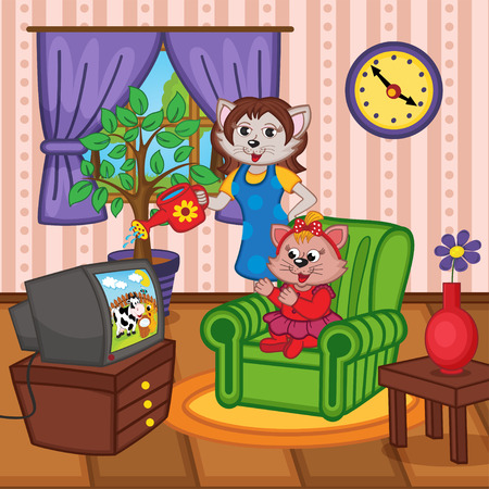 family living room: mother cat watering flowers baby cat watching TV - vector illustration, eps