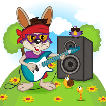 rabbit playing on electric guitar - vector illustration, eps Vector