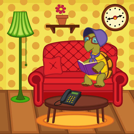 turtle reading book on couch - vector illustration Vector