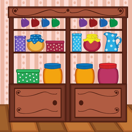 lid: shelves in kitchen with food and utensils - vector illustration, eps