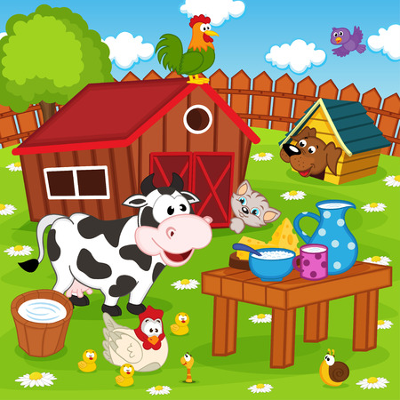 farm animals: farm animals in barnyard - vector illustration, eps