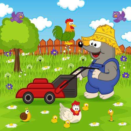 grass lawn: mole cutting grass lawn mower illustration