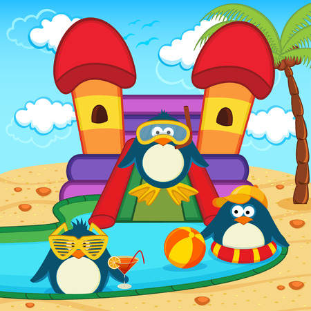 slides: penguins in aqua park - vector illustration Illustration