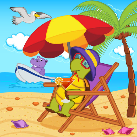 turtle drinking a cocktail in a lounge chair on the beach - vector illustration