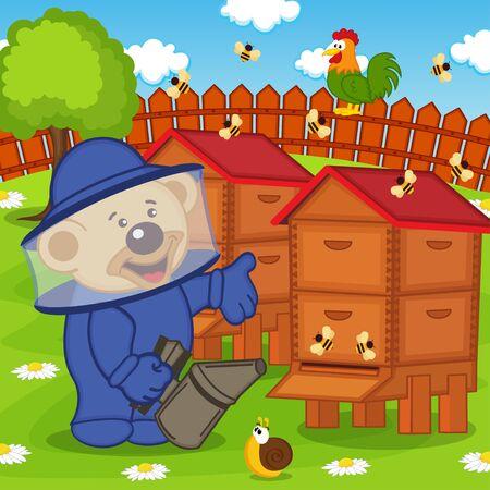 흡연자: teddy bear beekeeper keeps bee smoker - vector illustration,
