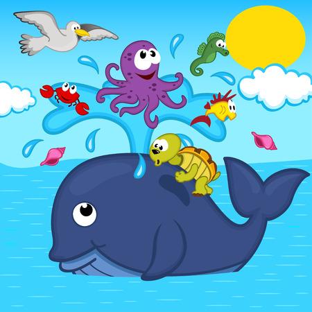 cangrejo caricatura: ballenas y animales marinos - ilustraci�n vectorial