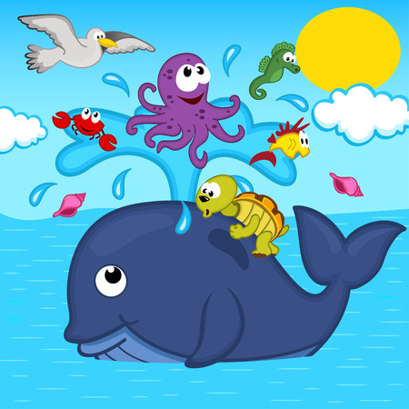 cartoon whale: whale and marine animals - vector illustration Illustration