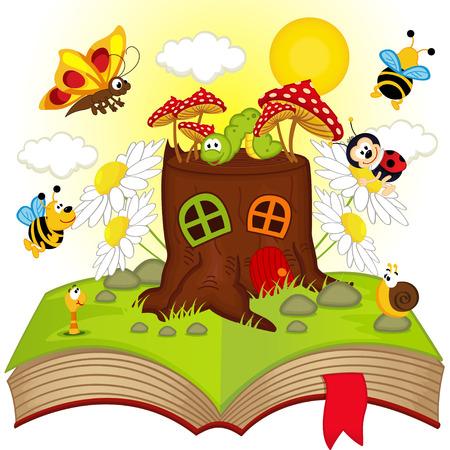 offenes Buch mit Haus Stumpf und Insekten - Vektor-Illustration, EPS- Illustration