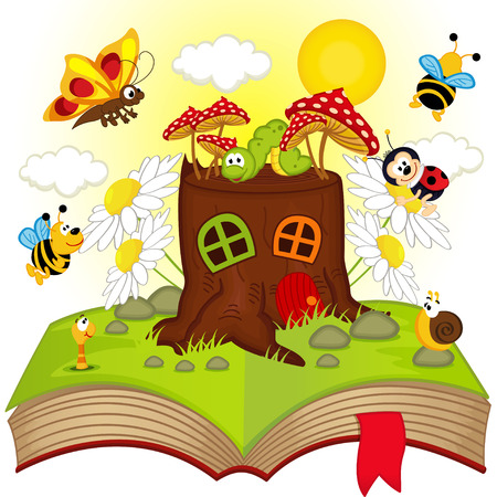 baby background: open book with house stump and insects - vector illustration, eps Illustration