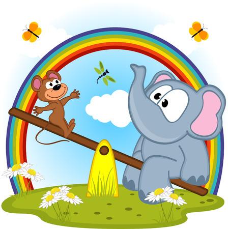 Elefant und Maus Reiten auf ständigem Schwanken - Vektor-Illustration Standard-Bild - 37512265