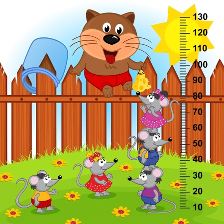 measure height: cat on fence height measure. Illustration