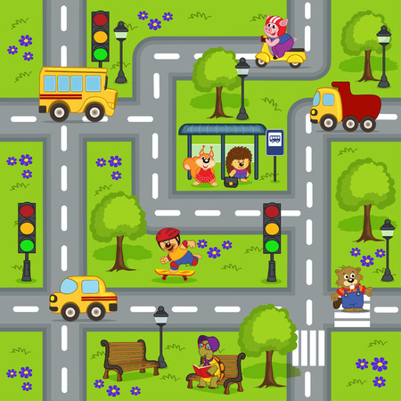 crossing the road: seamless pattern with  roads  -  vector illustration, eps