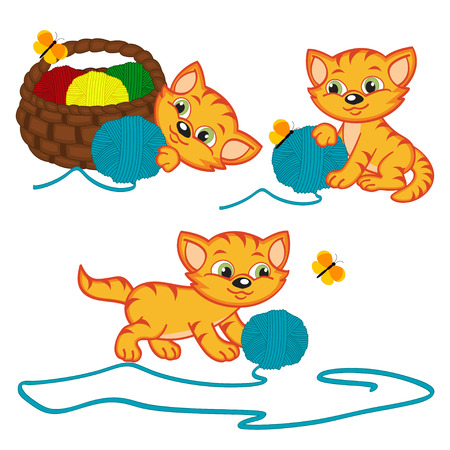 basket embroidery: kitten playing with balls of yarn - vector illustration,