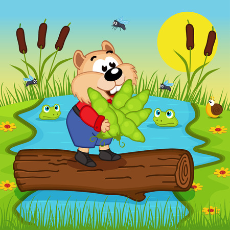 river vector: hamster with peas cross the river - vector illustration