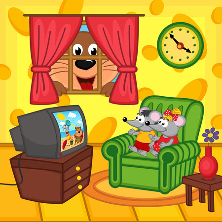 family living room: mouse watching television at home cat peeping through window - vector illustration, eps