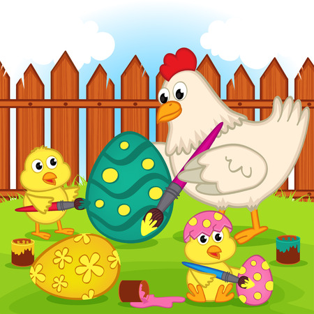 chicken and chicks painting easter egg - vector illustration, eps Vector