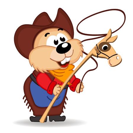 hamster cowboy - vector illustration, eps