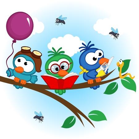 gusano caricatura: pájaros en el árbol lee, come, en el globo - ilustración vectorial, eps