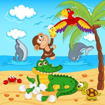 crocodile: animals found in eggs crocodile egg parrot  Illustration