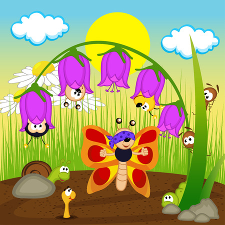 insects playing hide and seek - vector illustration, eps Vector