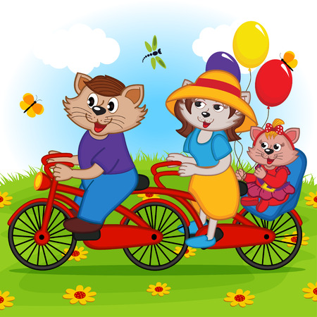 tandem: family of cats on tandem bicycle - vector illustration, eps