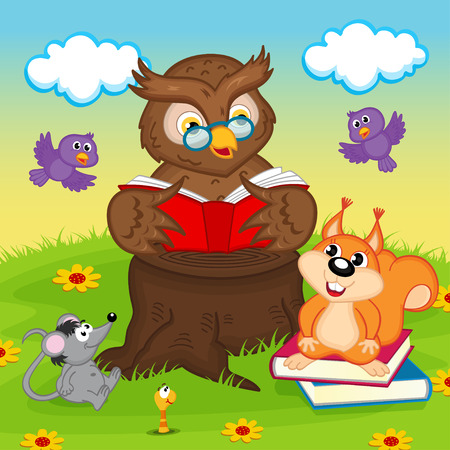 worm cartoon: owl reading a book for animals - vector illustration