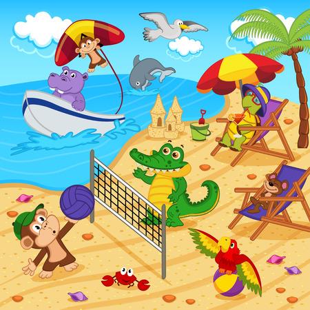 pelota de voley: animales que descansan en la playa - ilustración vectorial, EPS Vectores
