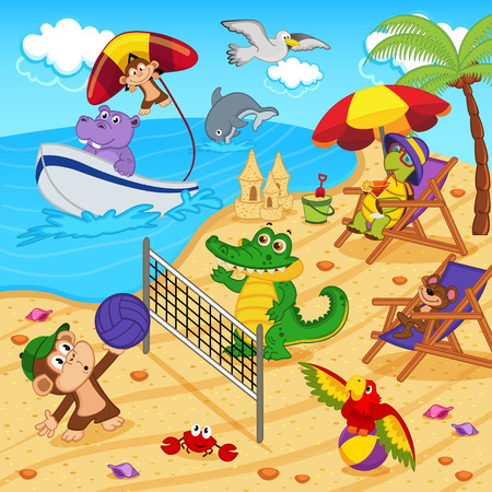 sunglasses cartoon: animals resting on beach - vector illustration, eps