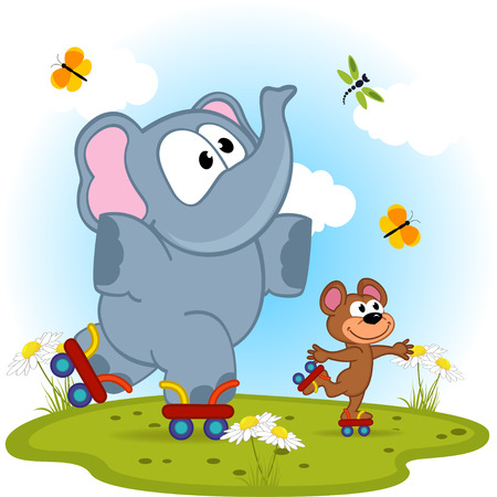 elephant and mouse roller skating - vector illustration, eps Vector