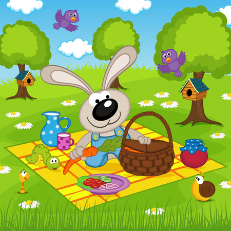 picnic park: rabbit on picnic in park
