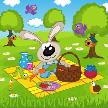 picnic basket: rabbit on picnic in park