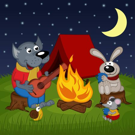 campground: animals resting around bonfire - vector illustration, eps