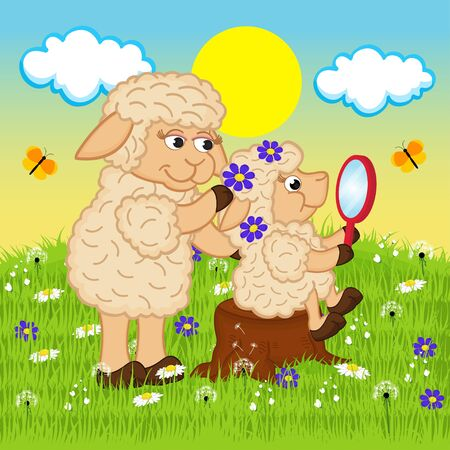 mother sheep adorns head daughter - vector illustration. Vector