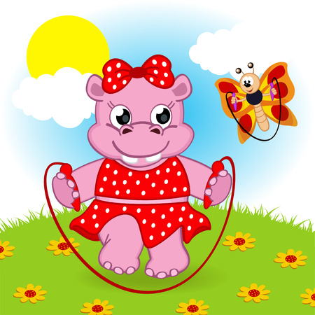 rope vector: hippo and butterfly jumping rope- vector illustration. Illustration