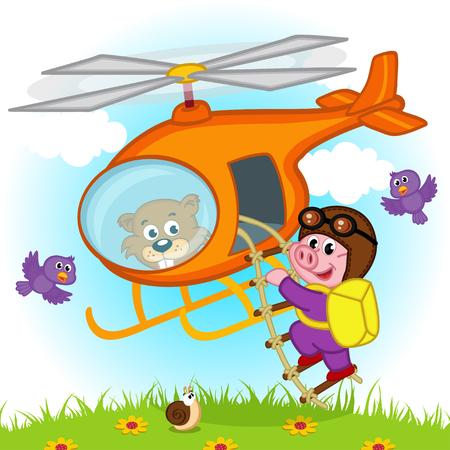 parachutist: pig parachutist on helicopter - vector illustration, eps