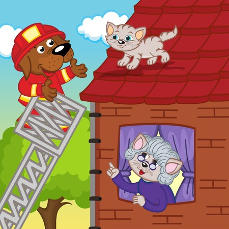 house trained: dog rescuer removes kitten off roof - vector illustration, eps Illustration