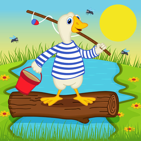 cartoon wood bucket: goose goes fishing - vector illustration Illustration