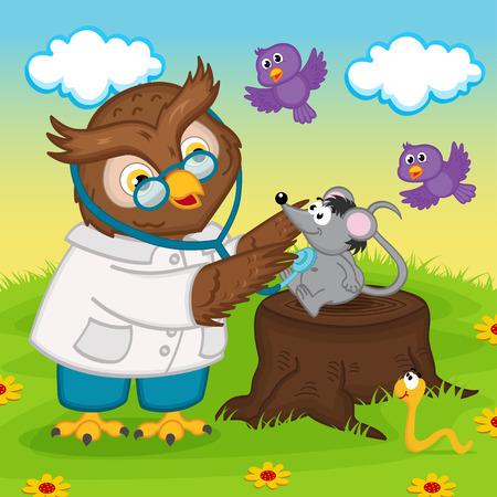 gusano caricatura: médico búho con estetoscopio - ilustración vectorial
