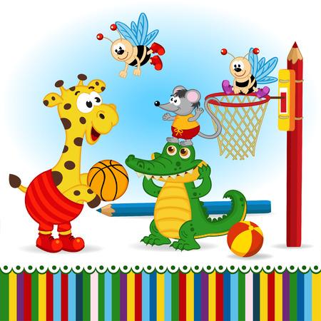 baby card: animals play basketball
