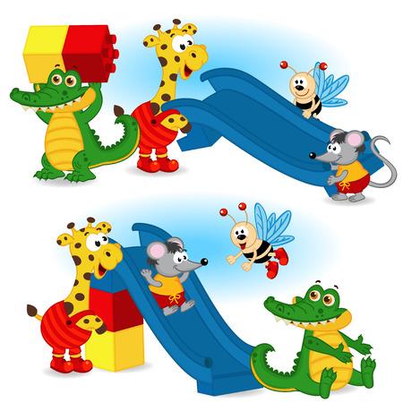 cartoon crocodile: animal are building slide from plastic block - vector illustration,