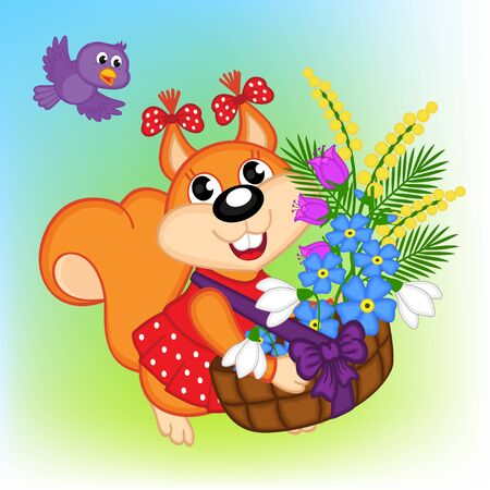 mimosa: squirrel with a basket with flowers - vector illustration,