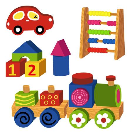 juguetes: coloridos juguetes de madera - ilustración vectorial, eps