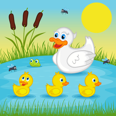 children pond: mother duck  with  ducklings on lake - vector illustration,