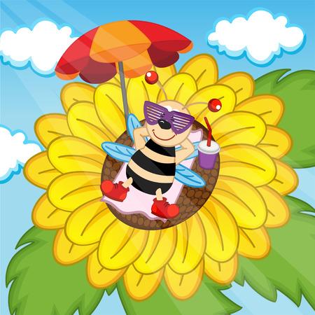 sunbathing: bee sunbathing on sunflower - vector illustration, eps