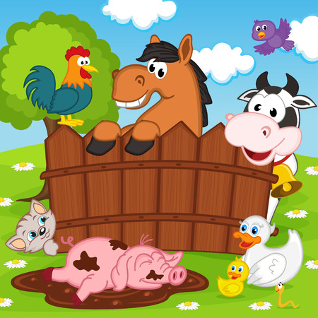 barnyard: domestic animals - vector illustration, eps