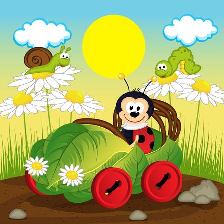 ladybug car from leaf - vector illustration, eps Illustration