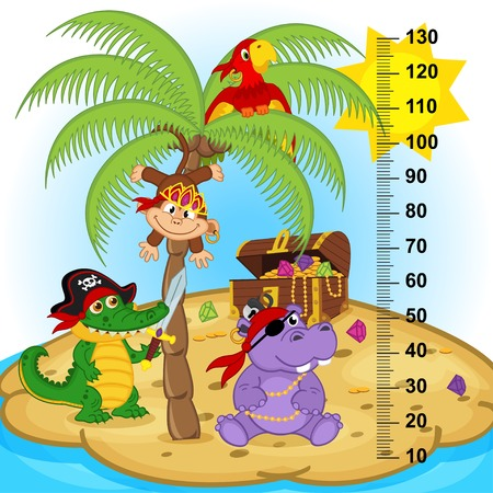 measure height: palm tree height measure (in original proportions 1:4) - vector illustration, eps
