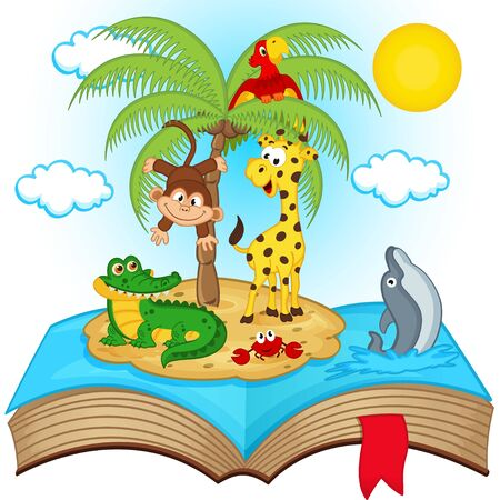 palm reading: open book with island in sea - vector illustration, eps