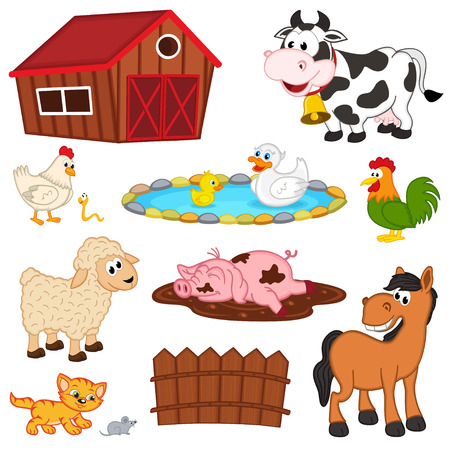 set of isolated farm animals - vector illustration,