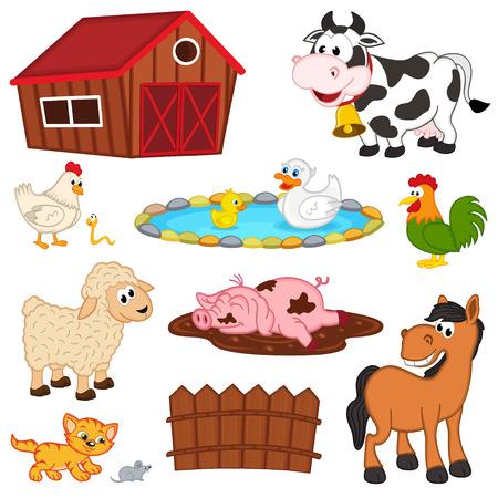 animales granja: conjunto de aislados de animales de granja - ilustración vectorial, Vectores